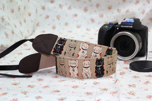 Pu. Leimi Japanese hand-made hand-made fabrics imported from Japan Strap / SLR strap / Lucky cat to come down