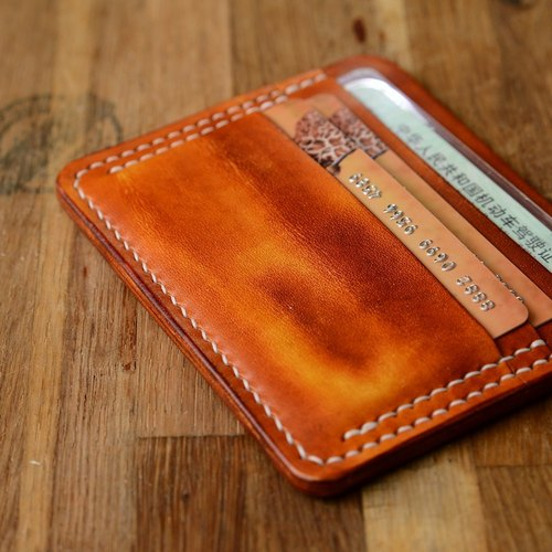 Cans hand-dyed hand-made hand-made yellow brown vegetable tanned Italian leather wallet, driver's license bit card bit minimalist custom