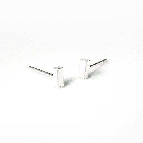 Geometric long box earrings 925 sterling silver rectangular silver earrings -64DESIGN