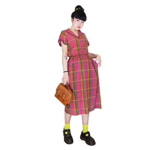 A PRANK DOLLY - the VINTAGEV retro vintage collar Plaid Dress