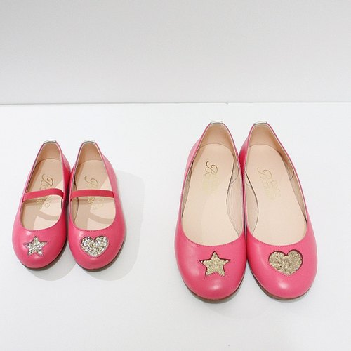(Parent-child section zero special) Asymmetric heart star doll shoes - sister peach