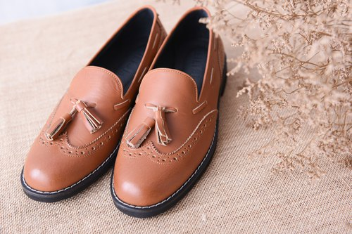 [Retro Party] carved stream Sule Fu shoes - coffee smoked nostalgia
