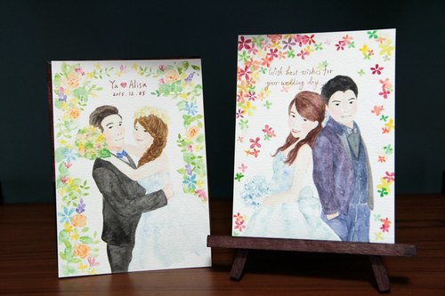 8 inch Hand Drawing more mediums custom portrait / wedding gift / couple double / half-length portrait (excluding frame)