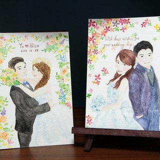 8 吋 handmade watercolor multi-media customized figures / wedding gifts / couple double / half portrait (without box)