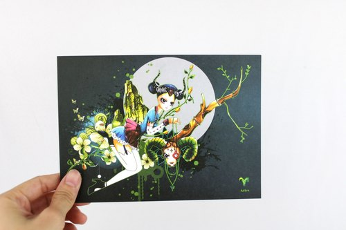 {@ Constellation} -Aries Aries / illustrator postcard