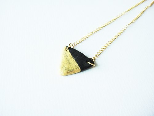Black and gold triangle bead necklace / handmade hand made necklace / girls Accessories