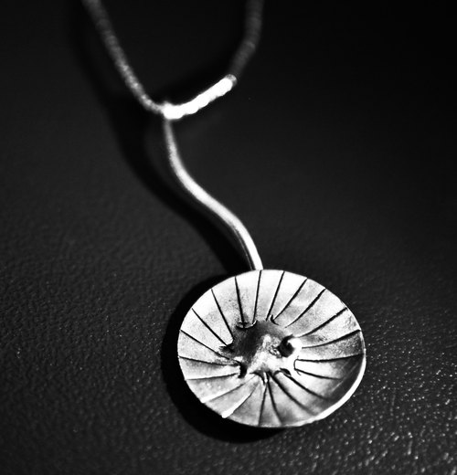 Sterling silver jewelry _ lotus leaf necklace _ lotus field