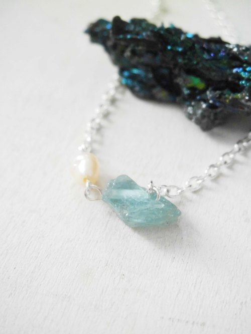 925 silver plated simple and natural apatite natural pearl necklace