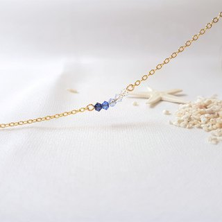 Ice cube gradient blue crystal necklace