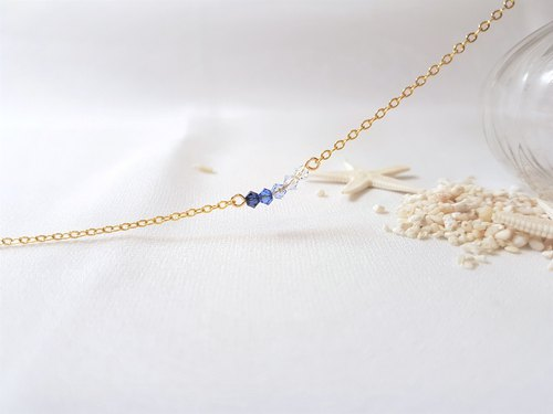 Ice. Gradient blue crystal necklace
