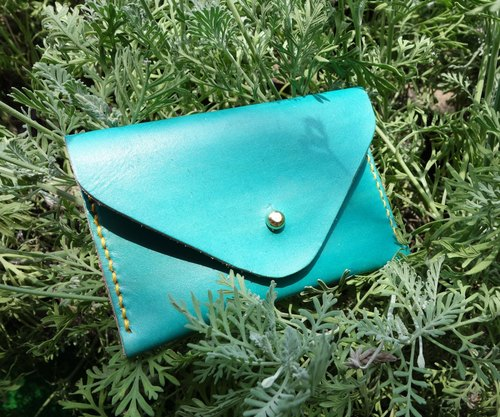Hand-dyed sky blue _ envelope bag / business card holder / card bag / purse leather hand-stitched custom print graduation gift
