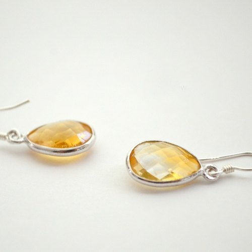 earrings/Frame stone Citrine Pierce