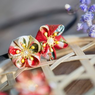 Japanese fabric plum cloth flower red yellow gold series two flower hoop ear