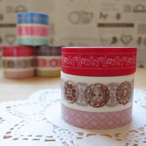 maste Masking Tape and paper tape 3 package [Button - Red (MSG-MKT04-RE)]