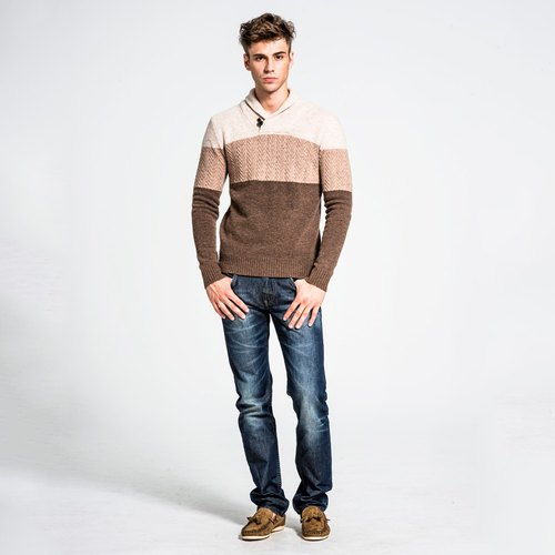 Men loofah collar sweater - khaki NOVI