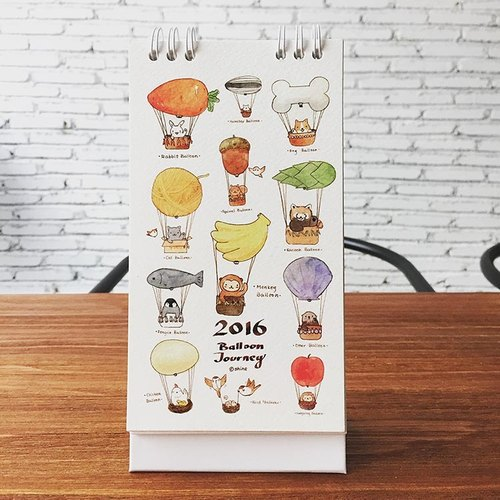 Balloon Journey 2016 Small Animal watercolor calendar calendar calendar