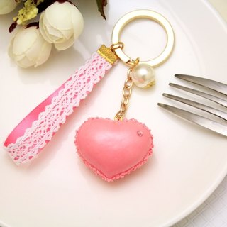 Heart Diamond ~ Lace Ribbon Micro Beads Light Heart Macarons Keyring