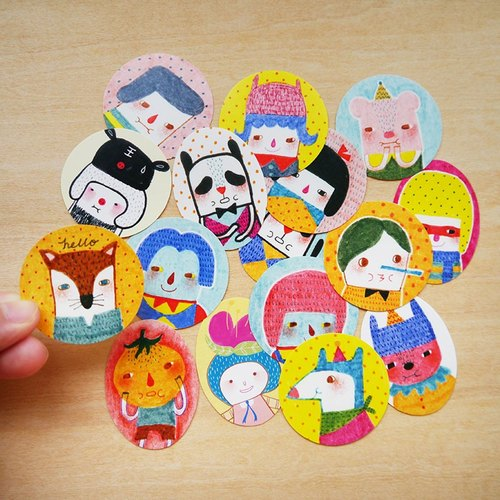 Sticker Set - Set of 16 - Collection 3 - Portrait & Characters - Illustration Stickers, Labels, Personalized Stickers, Party Favor Stickers