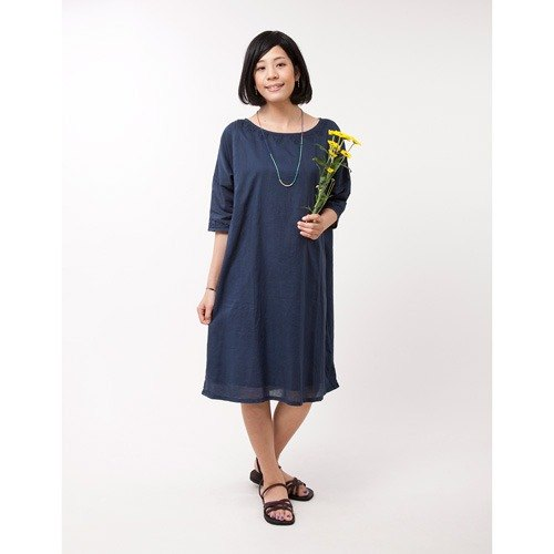"Earth tree fair trade & amp; eco- ""hand-embroidered Series"" - hand-embroidered long-sleeved dress (blue)"