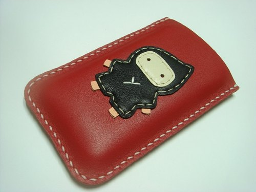 {Leatherprince 手工皮革} 台灣MIT 紅色 可愛 忍者 iPhone 純手工牛皮保護套 / Taka the Ninja iPhone leather case ( Red )