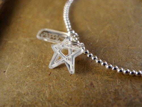 Shadow * silver pentagram graffiti series _ Silver Beads Bracelet