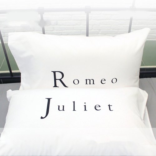 """Romeo and Juliet"" soulmates couple pillowcases by Human Touch"