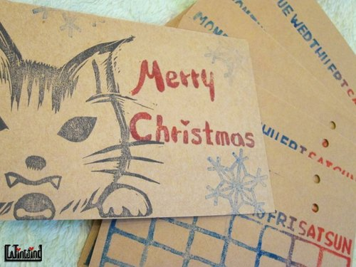 Environmental handwriting Custom Calendar - Meow Happy Christmas