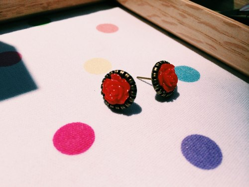 """Earrings"" Retro Little Rose - Red"