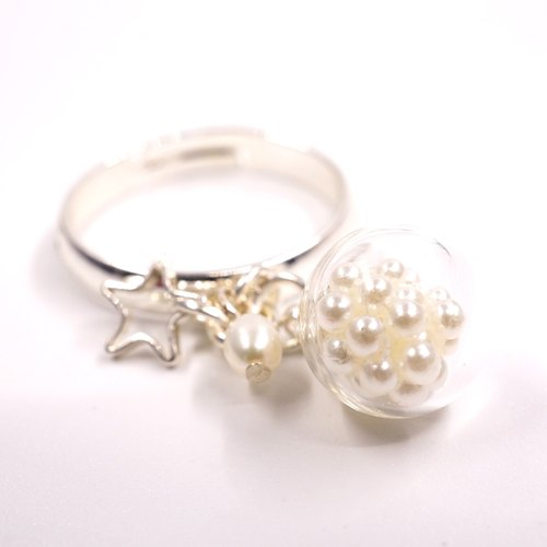 A Handmade glass beads imitation pearl ring