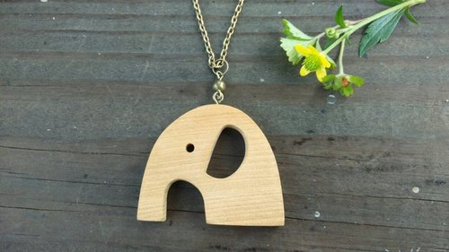 Handmade wooden elephant necklace