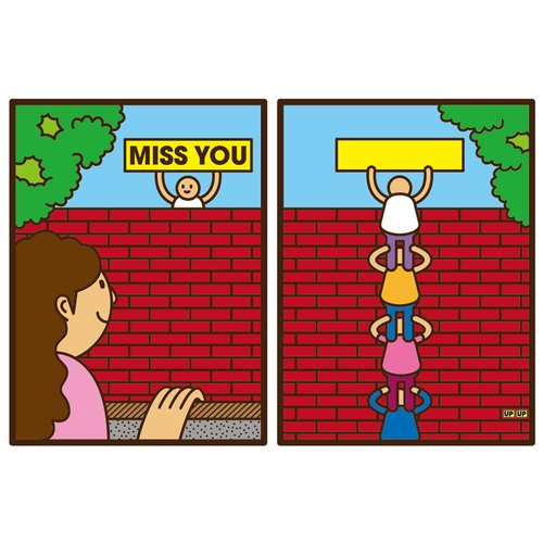 [UPUP placards villain] Miss You think you postcard