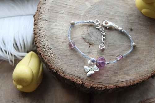 KNIT WITH LOVE purple orchid hexagonal fluorite with silver gray hand-woven bracelets