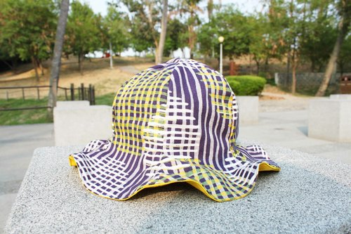 [CURLY CURLY] one thousand cells (purple yellow) / a cap A Flower Of Hat (double-sided wear)