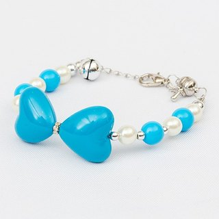 Ella Wang Design bow love pearl necklace - blue cat collar pet collar necklace handmade fashion