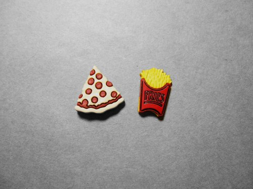 Earrings: pizza + chips