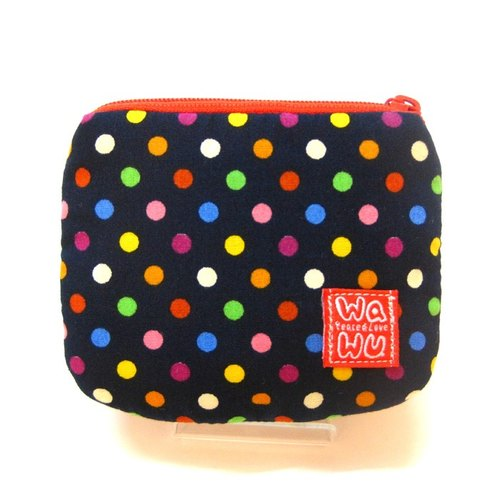 Fine coin (Colorful blue dot fabric)/card pouch/Mini zipper pouch/ Small Gadget bag/ Pocket pouch