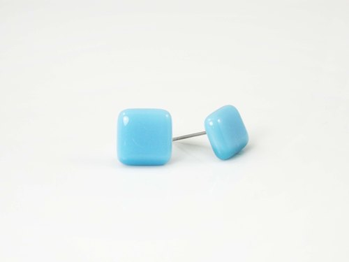 Square handmade glass earrings - light blue