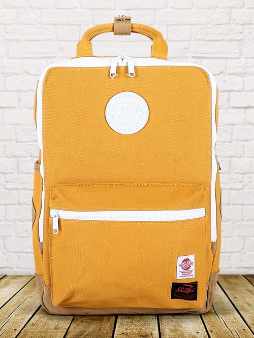 [SKUllTWO] mustard yellow / ancient canvas 13-inch laptop after the backpack / strap improved version