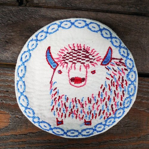 Hand-embroidered coasters _ _ white yak