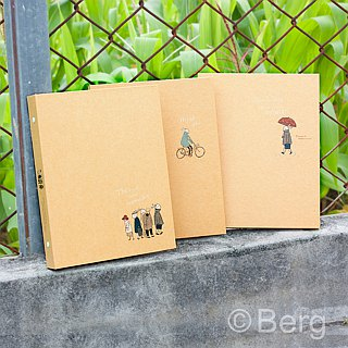 Boge stationery x traveler [leather hardcover 20 hole folder] three designs