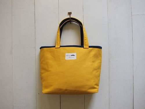 Macaron series - mango yellow + navy blue canvas Medium Tote (zipper opening paragraph)