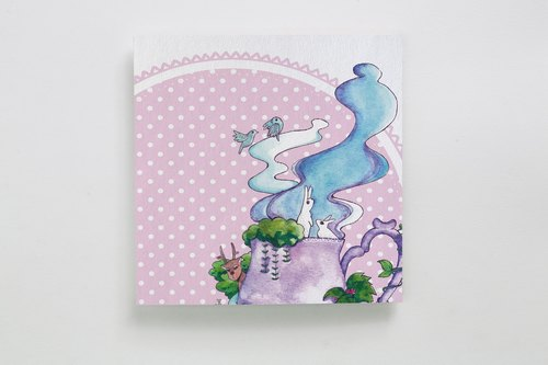 Universal Greeting Card | Tea Series II by forest pond illustrator amusement park | A125AB003
