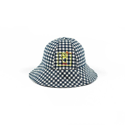 Akai ito embroidery checkered plaid hat dome cap Original homemade