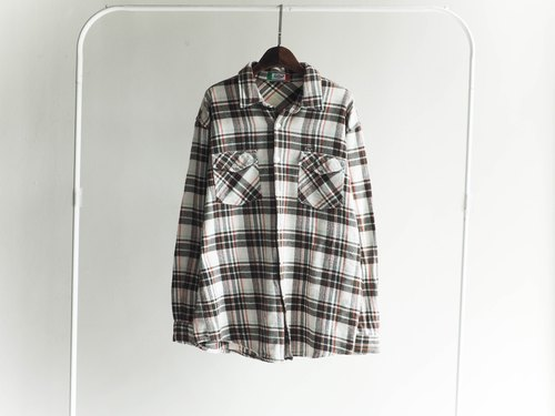 River Hill - positive wild Tokyo diary Chocolate Plaid cotton shirt jacket vintage antique neutral