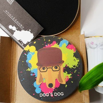 """DNS original design"" sausage Picasso painted ceramics UV absorbent coaster"