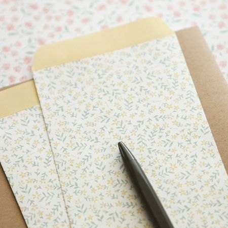 Dailylike paper bag envelopes L (5 in) -04 small yellow flowers, E2D83365