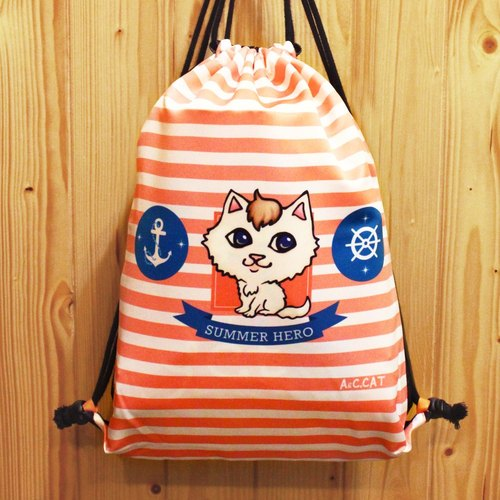 [Cute cat x city cat] back harness bag elegant white cat pink sailor