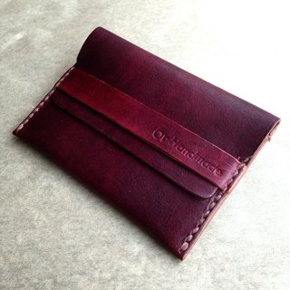 手縫皮革名片夾 (深咖)Leather Business Card Holder
