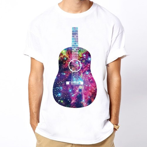 Guitar-Galaxy T-shirt - white guitar music orchestra galactic cosmic design fashionable circle triangle Wen Qing