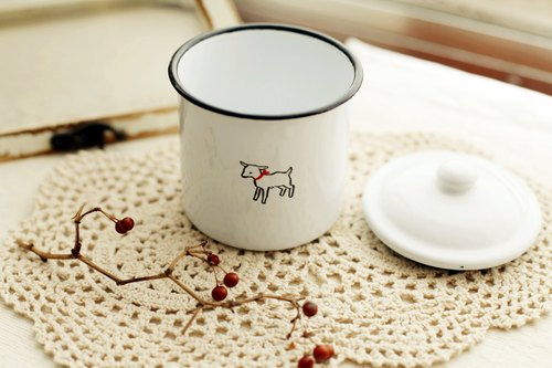 Good day [fetish] Japanese Vintage white enamel storage tank lambs (small)